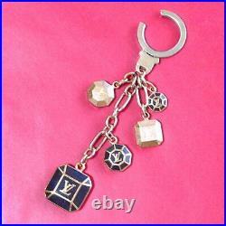 Auth Louis Vuitton LV Porte Cles Cabochon Black Gold Bag Charm Key Ring, Chain
