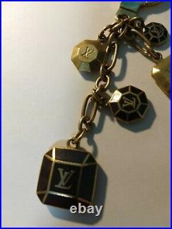 Auth Louis Vuitton LV Porte Cles Cabochon Gold Black BagCharm KeyRing KeyChain