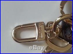 Auth Louis Vuitton Monogram Black & Gold Key Ring
