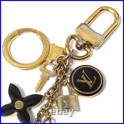 Auth Louis Vuitton Porte Cles PanPelle Black Gold BagCharm KeyChain KeyRing