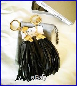 Auth. NIB Alexander Mcqueen Golden Skull & Black Leather Tassel KeyRing FOB BAG