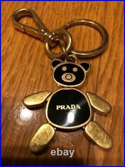 Auth PRADA Bear Black Gold key chain Women Accessories Keyring from Japan