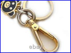 Auth PRADA Key Chain Key Ring Charm with Box Bear Logo Black Gold used