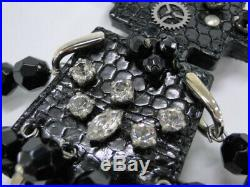 Auth PRADA Key Holder Bag Charm Robot Rhinestone Black Silver Tone 25160037900 G