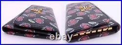 Auth PRADA Logo Heart 6-Ring Key Case Black/Red Leather/Goldtone e47866f