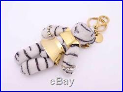 Auth PRADA Teddy Bear Keyring Bag Charm White/Black/Gold USED e38840