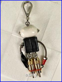 Auth Prada Saffiano Edward Robot Bag Charm Excellent condition