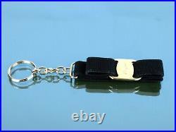 Auth Salvatore Ferragamo Vara Ribbon Metal Chain Black Key Ring Key Holder Italy