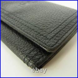 Auth YVES SAINT LAURENT YSL Logos Leather 5 Hooks Key Case Black 13200b