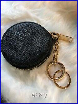 Authentic Burberry Black Label Leather Coin Case Purse Pouch Gold Keychain