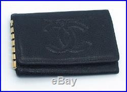 Authentic CHANEL Black Caviar Leather CC Logo 6 Key Holder Pouches 17047888LN