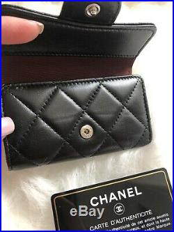 Authentic CHANEL Black Puffy Lambskin 6 Ring Key Holder with Silver hdw