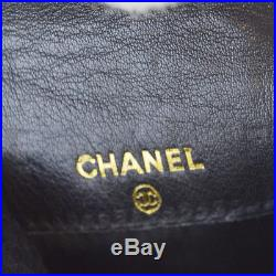 Authentic CHANEL CC Logos Coin Key Chain Case Wallt Leather Black Itlay 69BC195