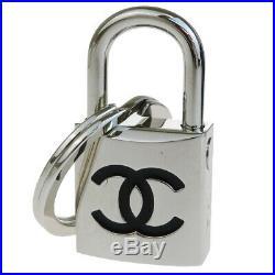 Authentic CHANEL CC Padlock Bag Charm Key Ring Silver Plated Black 07P 30BG819
