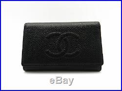 Authentic CHANEL Caviar Skin Coco Mark 6 Hooks Key Case A13502 Black 18039679LN