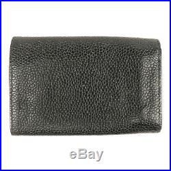 Authentic CHANEL Caviar Skin Coco Mark Key Case 6 Rings Black Used F/S