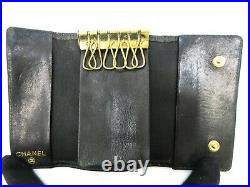 Authentic CHANEL Caviar Skin Key Case Leather Black 93922