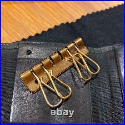 Authentic CHANEL Key Case Key Chain Caviar Skin Coco Mark Logo Black Women's Box