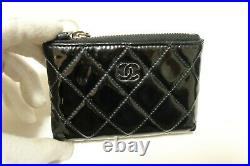 Authentic CHANEL Key Chain Patent Leather Matelasse Zipper Coin Purse #7766
