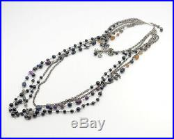 Authentic CHANEL Key Charm Black stone Strands Necklace P17A Gray Metal w3487