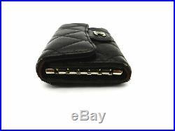 Authentic CHANEL Matelasse Black Lambskin 6-Hooks Key Case 18039411LN