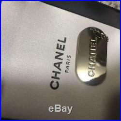 Authentic CHANEL NECKLACE Cold & Black CC Logo Pendant 26in with Key Chain Set