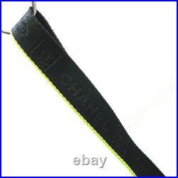 Authentic CHANEL Sports Line CC LOGO Neckstrap Nylon Canvas Black #K411105