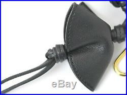 Authentic Celine Leather Key Ring Bag Charm Accessories Black Gold