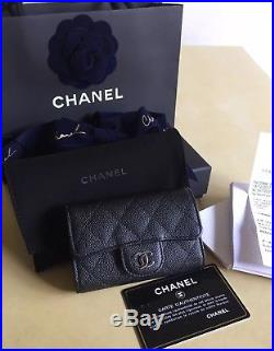 Authentic Chanel 4 Key Holder Black Caviar leather Silver hardware New model