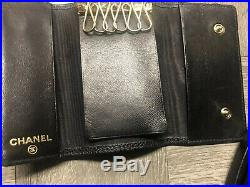 Authentic Chanel Caviar Black Key Ring Holder