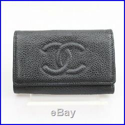 Authentic Chanel Key Case Black Cavier Skin 1101346
