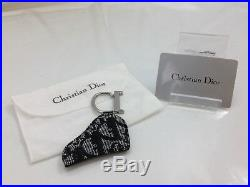 Authentic Christian Dior Trotter Key Ring Bag Charm Black Canvas 9A110480V