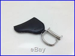 Authentic Christian Dior Trotter Key Ring Bag Charm Black Canvas 9A110480V