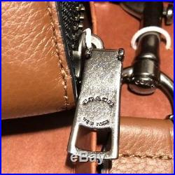 Authentic Coach Men's Accordion Wallet SRC Dark Saddle & Key Chain Gift Set New