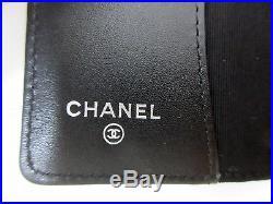 Authentic Excellent CHANEL Matelasse Key Case Soft Caviar Skin Black Box 55975 B