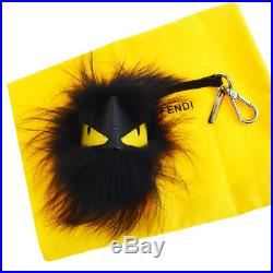Authentic FENDI MONSTER FACE Bag Charm Fox Fur Leather Black Italy 04EQ333