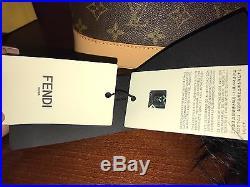 Authentic Fendi Black Monster Bag Bug Fur Charm Yellow Eyes Keychain