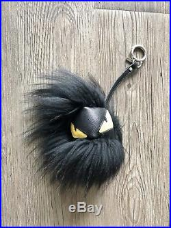 Authentic Fendi Black & Yellow Grimmy Fur Bag Bug Monster Key Chain Charm $690