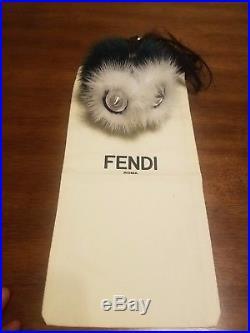 Authentic Fendi Monster Fur PomPom Bag Bugs Keychain Bag Charm Green/white/black