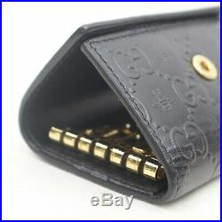 Authentic Gucci Key Case Guccissima Bee Black Leather 116399