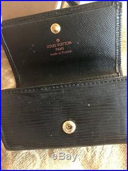 Authentic Louis Vuitton Black Epi 6 Key Card Holder Case