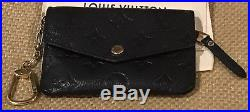 Authentic Louis Vuitton Black Noir Empreinte Empriente Leather Key Pouch Cles