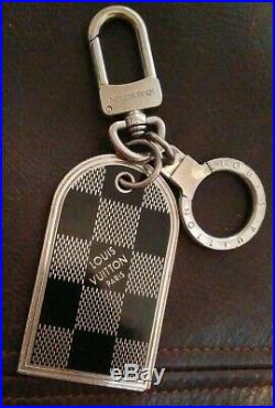 Authentic Louis Vuitton Black & Silver Damier Key Chain/fob/bag Charm Dbl Sided