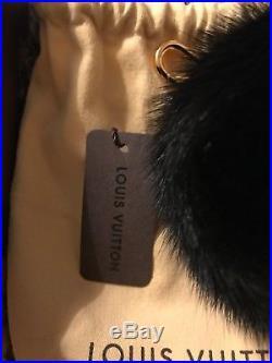 Authentic Louis Vuitton Fuzzy Mink Fur Black Bubble Bag Charm key chain M00008