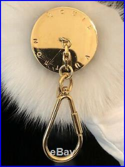 Authentic Louis Vuitton Fuzzy V Bag Charm /Mink Fur/ Key holder White and Black