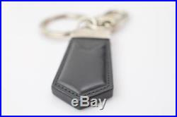Authentic Louis Vuitton Key Ring Black Leather X Silver Tone M62722 365919