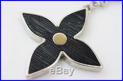 Authentic Louis Vuitton Key Ring Fleur De Epi M65084 Black X Silver 600570