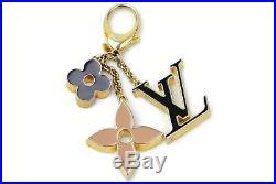 Authentic Louis Vuitton Key Ring Fleur De Monogram Beiges X Black 1205701