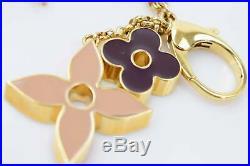 Authentic Louis Vuitton Key Ring Fleur De Monogram Beiges X Black 900559