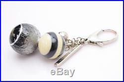 Authentic Louis Vuitton Key Ring Mini Lin Balls Black X Cream 366303